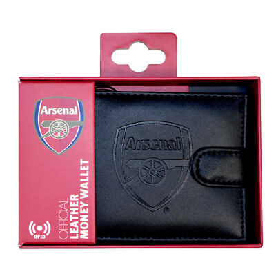 ARSENAL FC RFID TECHNOLOGY EMBOSSED CARD NOTE LEATHER WALLET PURSE NEW XMAS GIFT