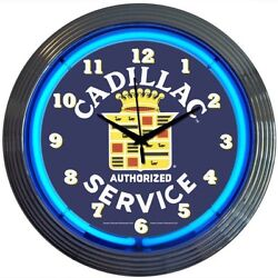 Neonetics 8CADSR Cadillac Service Neon Clock New MAN CAVE LOOK