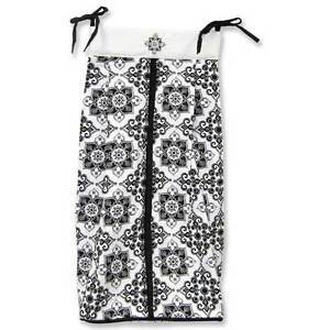 Versailles-Black-White-Luxury-Nursery-Girls-Damask-Diaper-Stacker-By-Trend-Lab