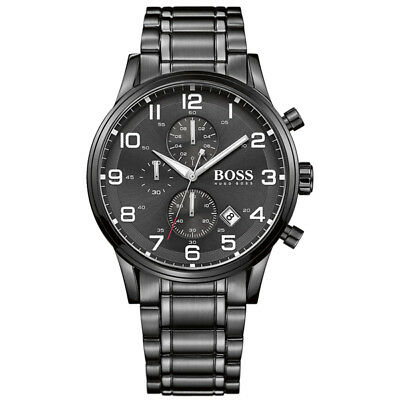 NEW HUGO BOSS MENS AEROLINER BLACK CHRONOGRAPH WATCH - 1513180 - RRP £399