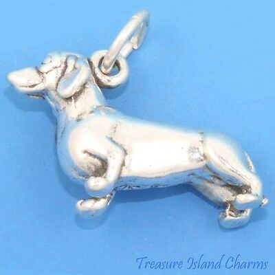 Dachshund Dog Breed Weenie 3D .925 Solid Sterling Silver Charm MADE IN USA for sale  Irvine