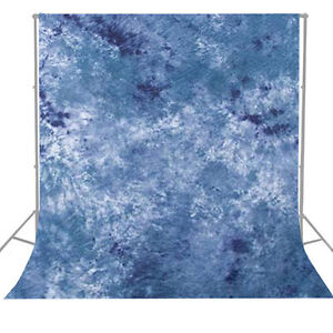 Blue Tie Dyed Hand Painted Photo Background Backdrop Photography Muslin 6 x 9'