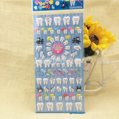 3 Sheet Molar Shaped Cartoon Tooth Puffy Paper Sticker For Dental Clinic Gift