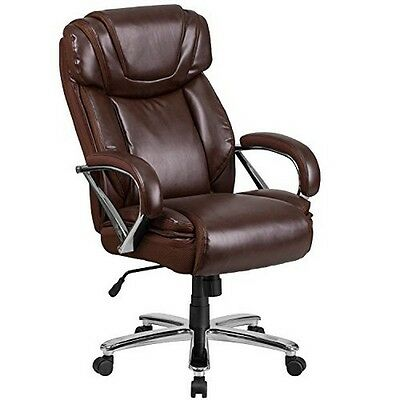 Hercules Series 500 Lb Brown Leather Executive Swivel Office Chair With Extra