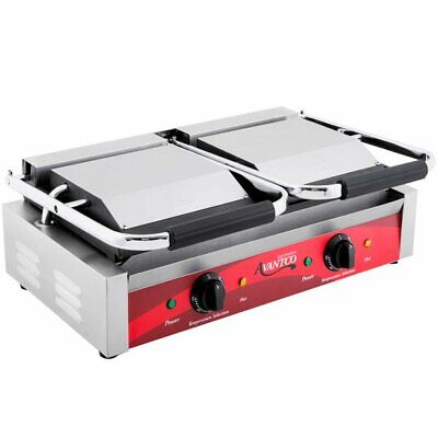 Double Smooth Top Bottom Commercial Panini Sandwich Grill Press Resto Fastship