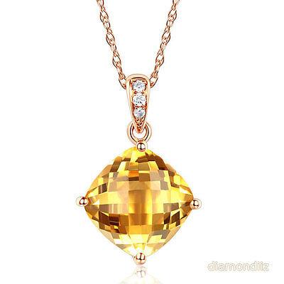 14K Rose Gold 3 Ct Cushion Citrine Pendant Necklace 0.03 Ct Diamond Fine Jewelry