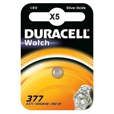 5 piles 377 Duracell - pila SR626sw óxido de plata SR66