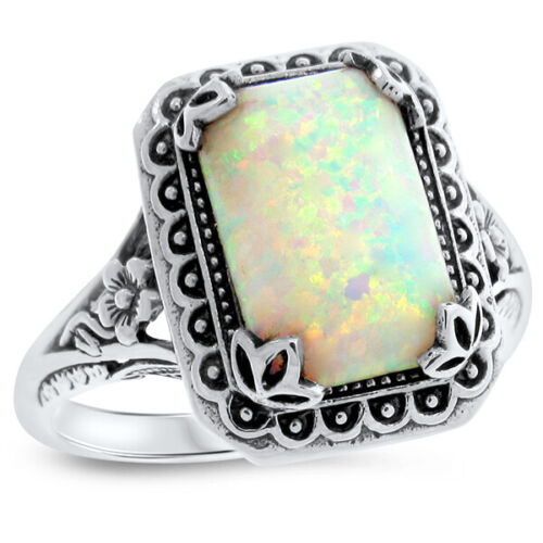 ANTIQUE STYLE LAB OPAL .925 SOLID STERLING SILVER RING,                     #860