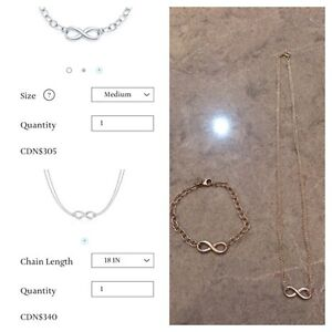 Authentic Tiffany and co infinity set