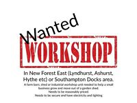 Workshop, shed or barn needed in New Forest or Southampton