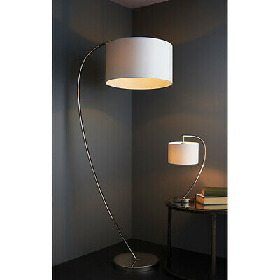 Elegant Floor Lamp Bright Nickel Arched Base  & Vintage White Shade -Foot Switch