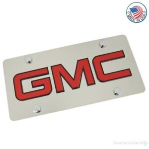 GMC Logo on Polished Stainless Steel License Plate
