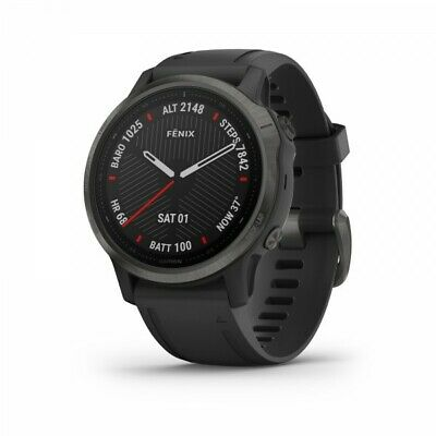 Garmin fenix 6s Sapphire GPS Watch Carbon Gray DLC with Black Band 010-02159-24