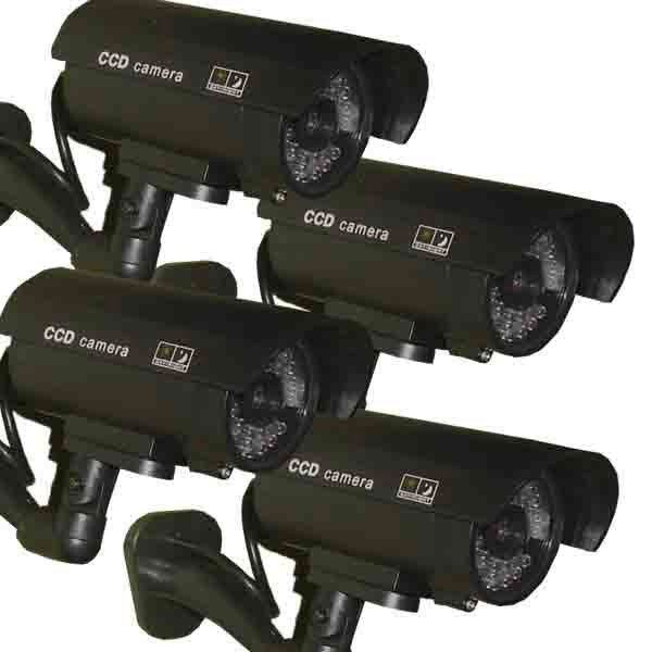 4 x Dummy Security Camera Fake LEDs Flashing Light Home Surveillance Waterproof
