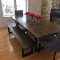 Executive Live Edge Harvest Table w/ Benches and side table