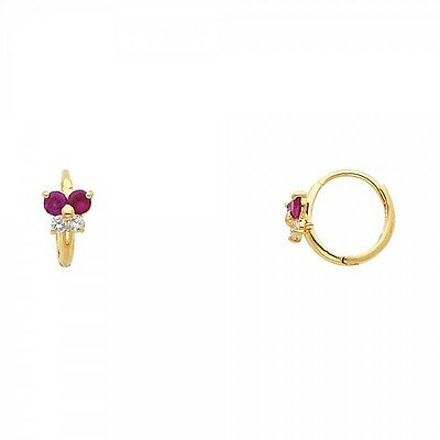 14K Yellow Gold Red Ruby Diamond Butterfly Huggies Earrings for Baby Children  14k Ruby Diamond Earring