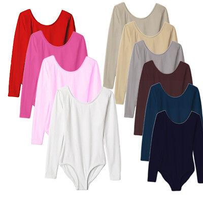 Langarm Kinder und Damen Trikot Gymnastikanzug Body Ballettanzug div.Farben NEU ()
