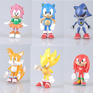 New 6pcs LOT The Hedgehog Super Sonic Characters PVC Figure Loose Set