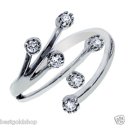 Stylish Tree Branch CZ Toe Ring Real Solid 925 Sterling Silver ONE SIZE FITS ALL