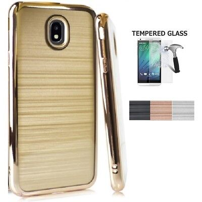 For Samsung Galaxy J7 Crown Case, Chrome Edge TPU Cover Brushed Style Case + TG