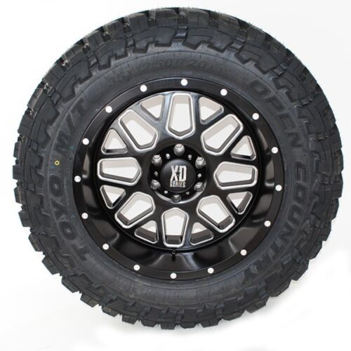 20x10 Xd 820 Grenade Matte Black Milled Toyo Mt 35x12.50r20 Wheels Tires