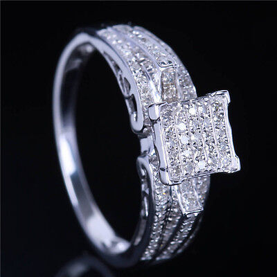 VS Natural Diamond Wedding Engagement Women Cluster Ring Solid 14K Yellow Gold