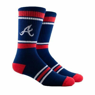 NEW Atlanta Braves MLB Parkway PKWY Navy Stripe Crew Socks Mens Womens Youth