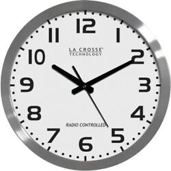 La Crosse Technology 16 Inch Stainless Steel Atomic Clock - White Dial 16 Metal