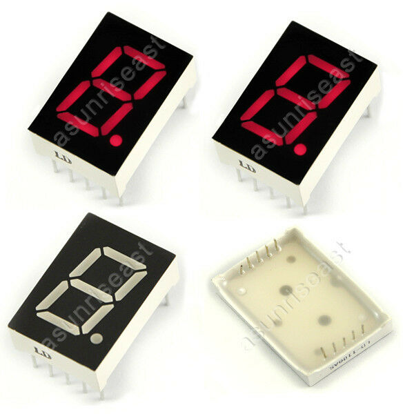 """5 × Red 7 Segment 2.3"""" Common Anode LED Single Digit Display 1 Bit 10-Pins"""