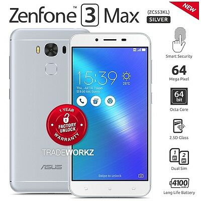 """New Unlocked ASUS Zenfone 3 Max ZC553KL Silver 5.5"""" IPS LCD Android Cell Phone"""