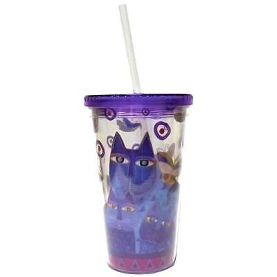 "Laurel Burch Indigo Cats Acrylic Blue 16oz Tumbler Lid Straw 9"""