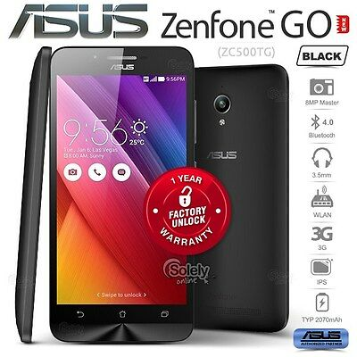 New Unlocked ASUS Zenfone GO ZC500TG Black 2GB/16GB Android 5.1 3G Mobile Phone