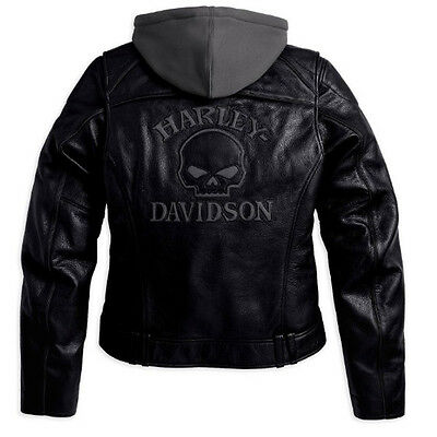 Harley Davidson Womens Reflective Willie G Skull Leather Jacket 3n1 98152-09VW M