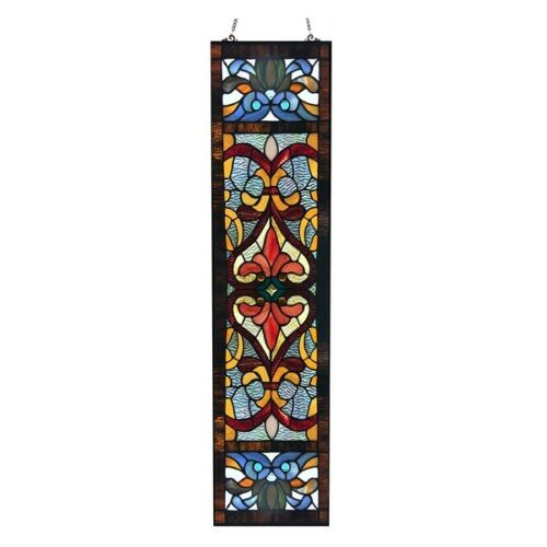 """Stained Glass Fleur De Lis Tiffany Style Colorful Window Front Door 36"""" Panel"""