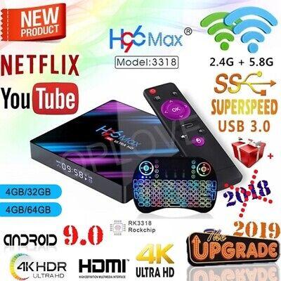 H96 MAX RK3318 Android 9 Smart TV Box 5G Wifi H.265 4GB + 64GB, I8 Keyboard