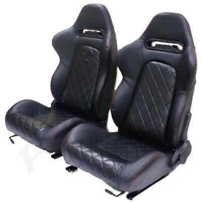 Black PVC Leather Sports Car/Van Seats Reclining/Adjustable Back Replacement Set