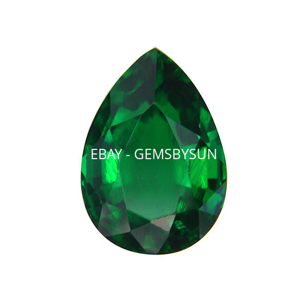 Lab Created Hydrothermal Emerald Green Pear Faceted Loose Stones (4x2mm-16x12mm)