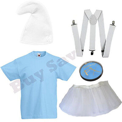 Lady Smurf Costume (LADIES SMURF SMURFETTE T SHIRT BRACES HAT PAINT & SKIRT FANCY DRESS)