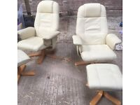 Pair of Dansk cream leather recliner chairs and matching stools