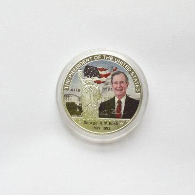 Us 41Th President George H W  Bush Silver Eagle Commemorative Challenge Coin
