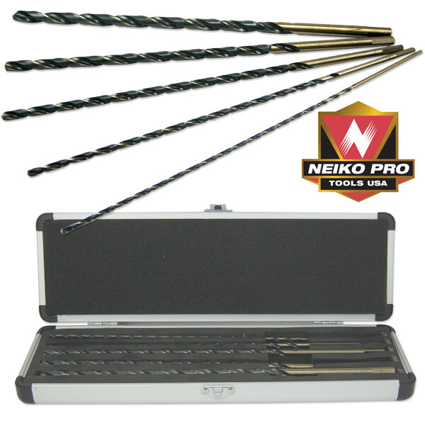 """5 PC PIECE 12"""" EXTRA LONG AIRCRAFT LENGTH TWIST DRILL BIT SET FOR METAL STEEL"""