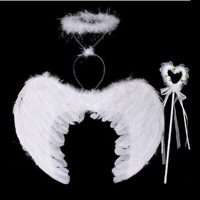 Halo 3 Costume (3Pc Set Feather Angel Fairy Wings Wand Halo Halloween Party Fancy Dress)