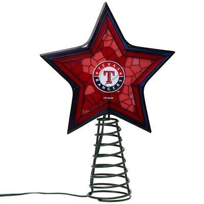 TEXAS RANGERS MLB Mosaic Christmas Tree Topper Baseball Ornament Light Up Star
