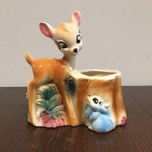 VTG Walt Disney Bambi and Thumper Ceramic Planter