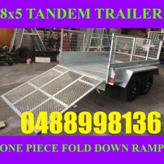 8X5 GALVANISED TANDEM TRAILER WITH RAMP AND CAGE BOX TRAILER sa