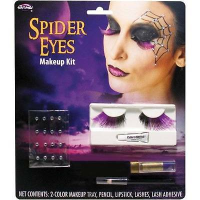 Spider Web Makeup (NEW Adult Halloween Spider Web Eyes Lashes, Gems, Paint Quality Makeup)