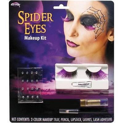 NIP-Adult Halloween Spider Eyes Lashes, Gems Quality Makeup Kit (Adult Halloween Makeup)