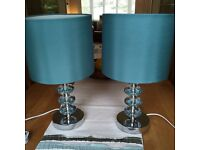 4x Teal Table Lamps