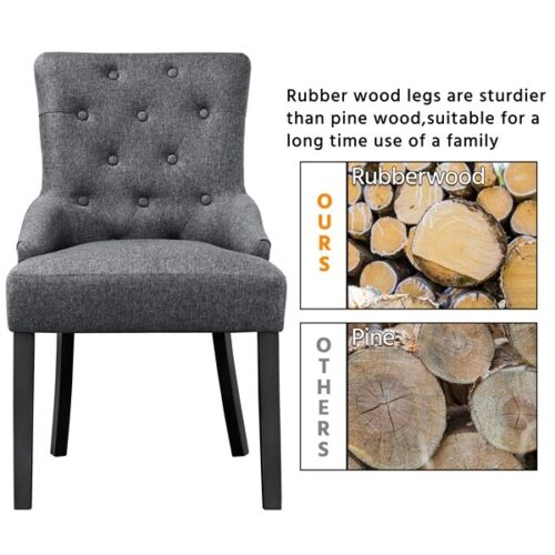2pcs Dining Chairs Wingback Fabric Chair With Nailhead Trim and Wood Legs, Gray 8