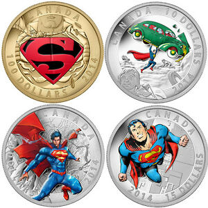 2014 Gold & Silver SUPERMAN Iconic Comic Book Covers 4 Coin Set